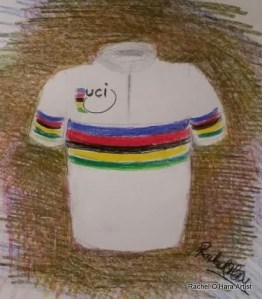 A quick sketch to illustrate what a World Champion's cycling jersey is like