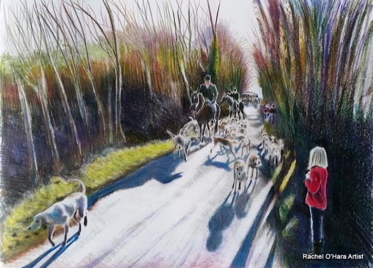 Carlow Farmers Hunt rides through Scort Lane.