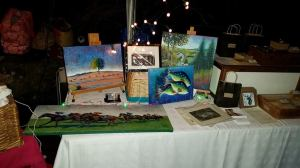 A selection of my paintings for sale at little Cottage Christmas Market