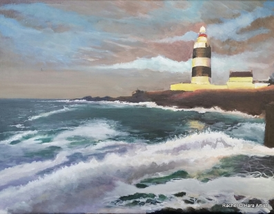 Rising tide at Hook Head, Acrylic on canvas 40 x 30cm
